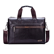 Men's Business Briefcase Commuter Handbag Single Strap Bag-Brown