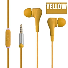 GuoaivoUniversal 3.5mm In-Ear Stereo Earbuds Earphone With Mic For Cell Phone  -yellow