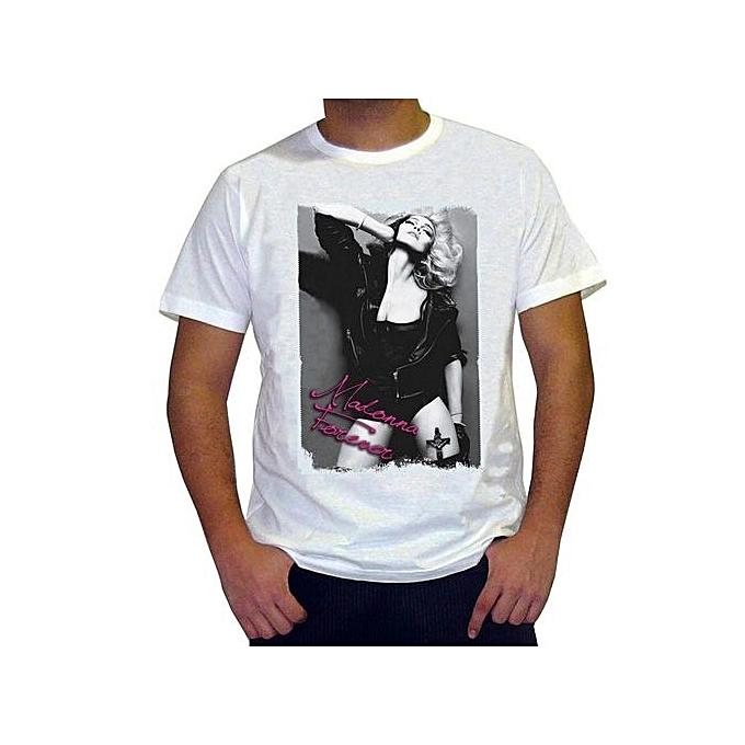 80c7d0f41c7d24 Men Adult T Shirt Short Sleeve Cotton Madonna Men's T-Shirt Style Vintage  Tees Short
