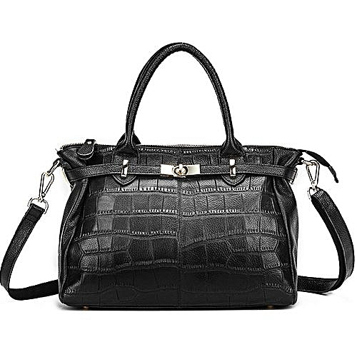 f192704cba Generic Realer Genuine Leather Handbag Women Tote Bag Ladies Shoulder  BagBlack - Intl (Color Black)   Best Price