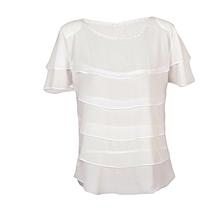 Women White Multi Layered Casual Chiffon Blouse