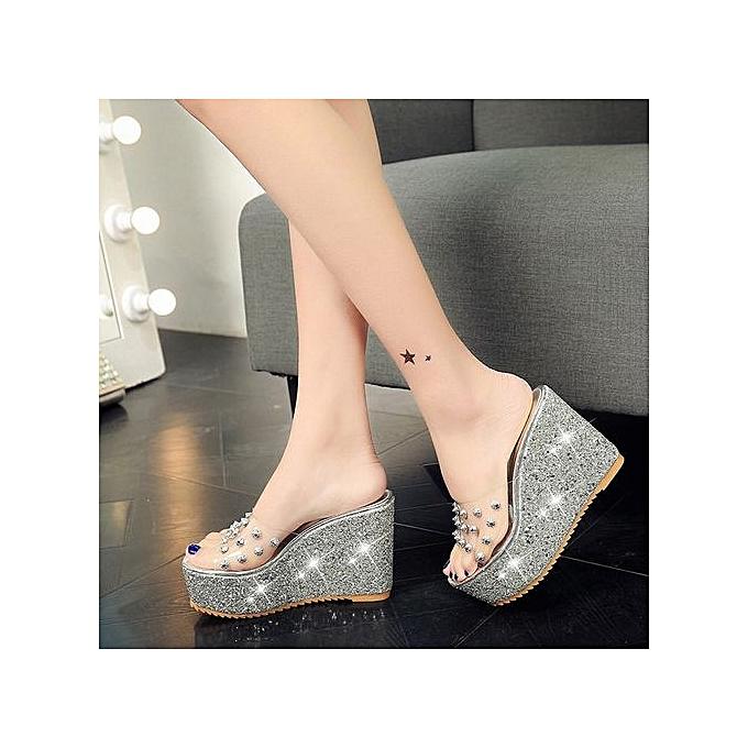 533811e9616 Bliccol High Heel Shoes Summer Transparent Platform Waterproof Sandals  Wedge Sandals Women Slippers - Silver ...