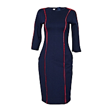 Navy Blue Body-con Heavy Stretch Midi Dress