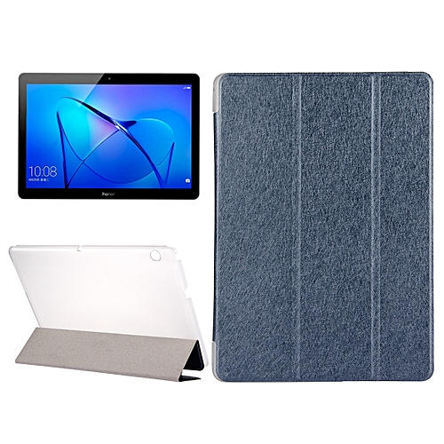 hot sale online 41bbc 2b43e Huawei MediaPad T3 10 9.6 inch Silk Texture Horizontal Flip Leather Case  with 3-folding Holder(Dark Blue)