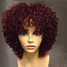 Short Side Bang Curly Synthetic Wig - Red