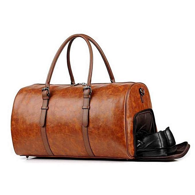 17b89d0f60af AEQUEEN Men Women PU Leather Travel Hand Bag Outdoor Gym Duffel Bag  Weekender Overnight Luggage Handbag Waterproof Large Totes(Brown)