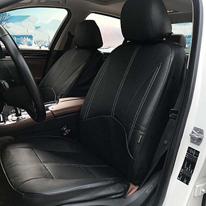 Black PU Leather Car Seat Cover Full Set Front Rear Cushion Mat Protector