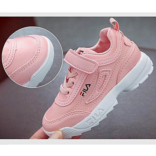 Fashion FILA Kid s Shoes Girls Sneakers Kinder Sport Light Shoes Kids White  Pink Black 4faad88e0d38c