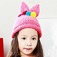 95981b1d3dd Cute Baby Kid Cap Elasticity Venonat Knitting Beanie Bunny Ears Cap Warm Hat  - Hot Pink