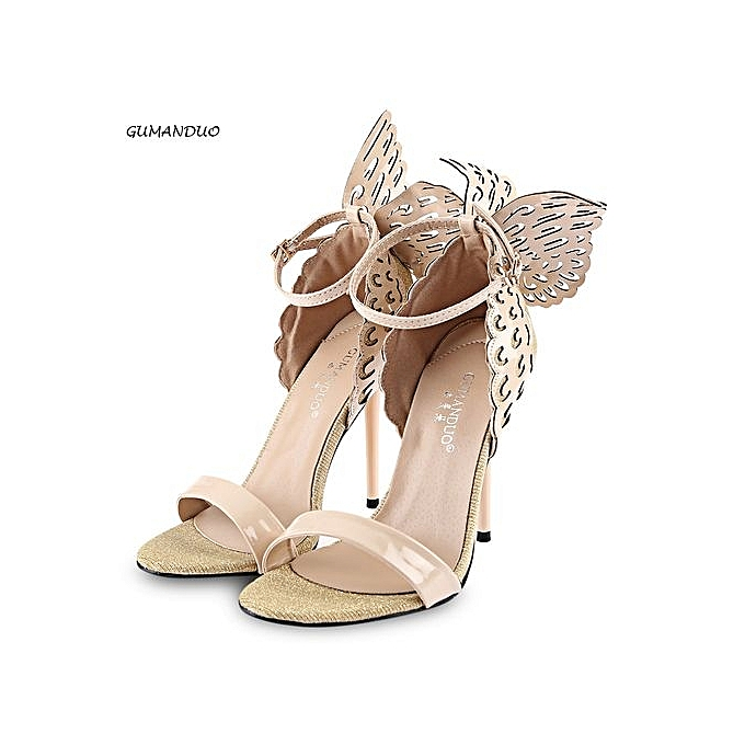 0b57d73708f24 GUMANDUO Sexy Butterfly Wings Embellishment Ankle Strap Ladies Thin High  Heel Sandals - APRICOT