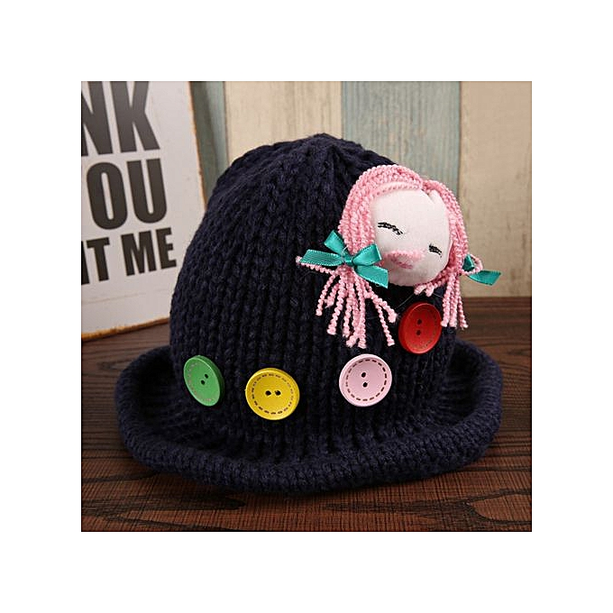 e30e97b22 Hiaojbk Store Newborn Baby Girls Kids Cartoon Knitting Button Cap Cute Soft  Caps Hat- Navy