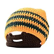 Stylish Cap Knitted Woolen Cap Creative Men Beard Design Warm Beanie Hat For Winter Autumn Color:Orange