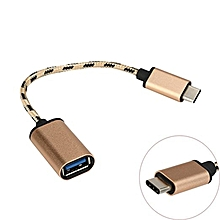 Mchoice USB 3.1 Type-C USB-C OTG Cable USB3.1 Male to USB2.0 Type-A Female Adapter Cord - GOLDEN