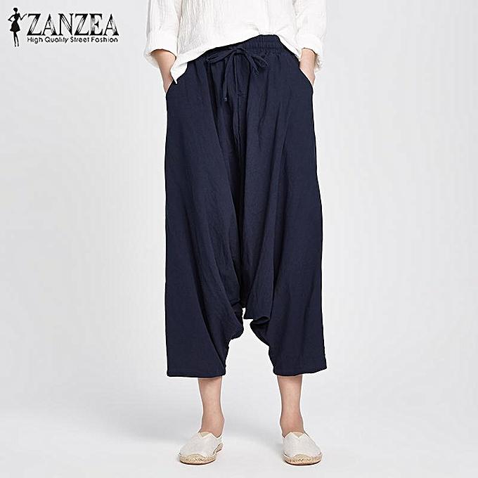 bb071dd85b88 ZANZEA Cotton Linen Women Elastic Lace-up Baggy Drop-Crotch Pocket Harlan  Pants Navy ...