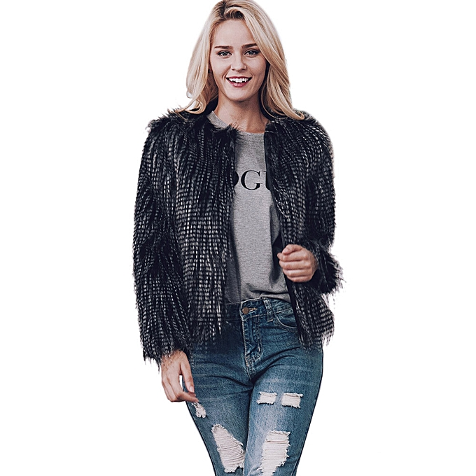 46368885c1 New Ladies Womens Warm Faux Fur Coat Jacket Winter Parka Outerwear -Black.