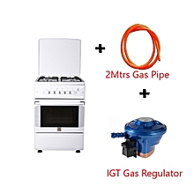Free Standing Gas Cooker, 50cm X 55cm, 4Gas Burners Gas Oven, Rottiserrie, Top and Bottom Oven Control, - MST55PIAGWH/SD, With 2M German Technology Gas Pipe and IGT Snap On Compact Low Pressure Regulator - White.