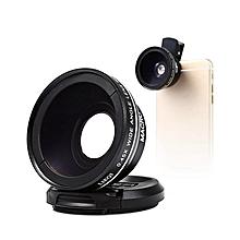 LQ-027 - Single Reflex 180 Degree Super Wide 0.45X 10X Macro Clip-on Lens - Black
