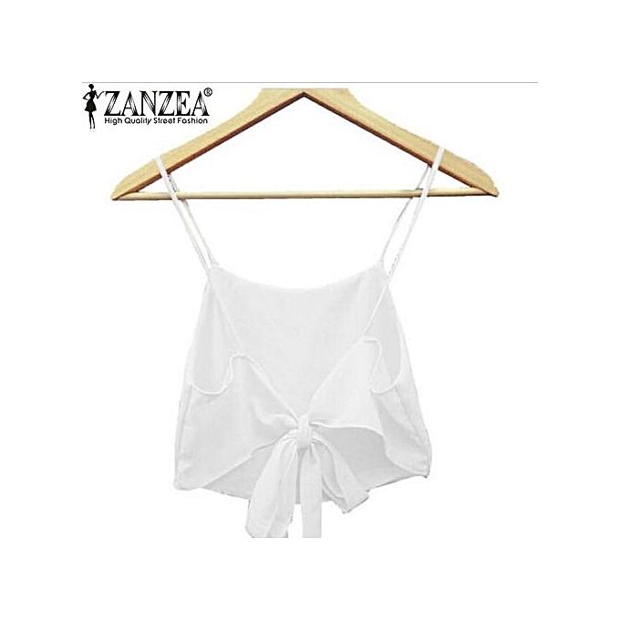 a02e959a01f09 ZANZEA Women Straps Backless Camisole Crop Bralette Tops Bra Cami Tank Vest  (Off White)