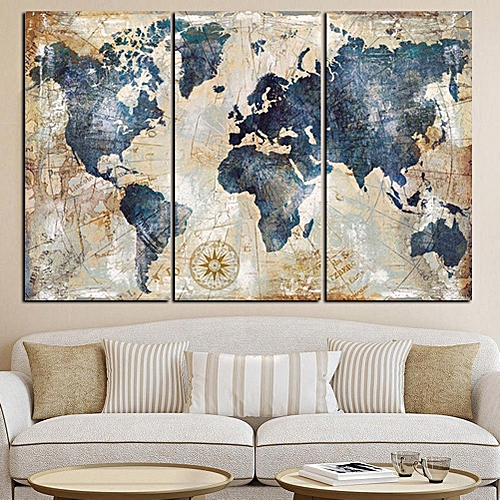 Generic 3Pcs World Map Modern Wall Canvas Painting Print Home Deco