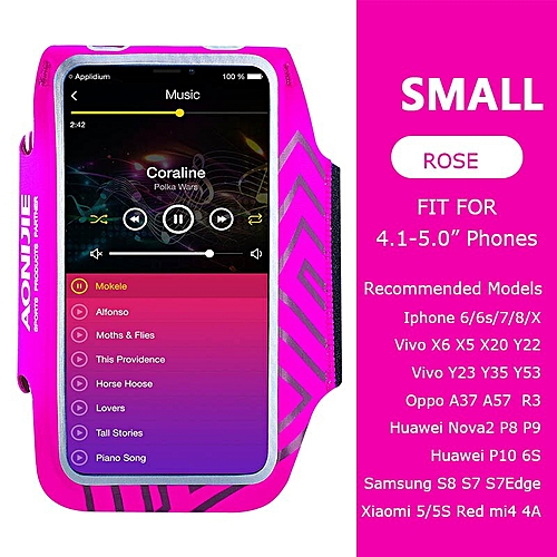 buy online 20ecb 6e283 A892 Water Resistant Cell Mobile Phone Sports Running Armband Arm Bag  Jogging Case Holder Cover For Fitness Gym Workout(Rose Small)