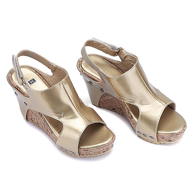 3b42a8c1fd5b Fashion Retro Women s Rivets Peep Toe Wedge Sandals Gladiator Roman ...