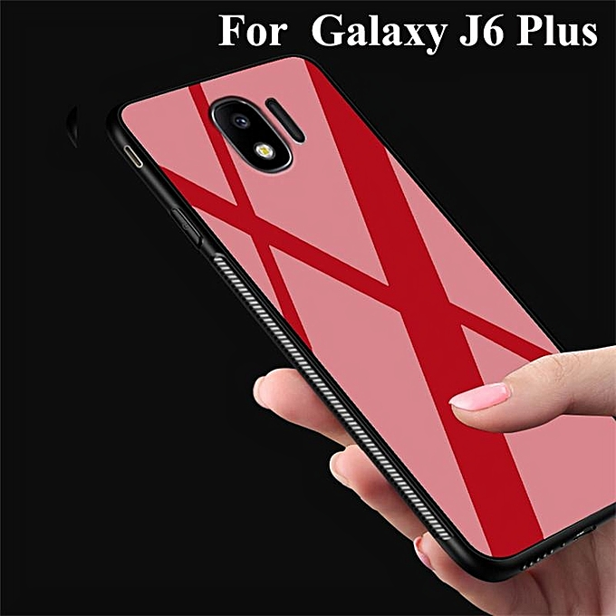 new arrivals 098ea 1be9c For Samsung Galaxy J6 PLUS/J4 Plus Glass Case Hard Anti-dirt Back Cover