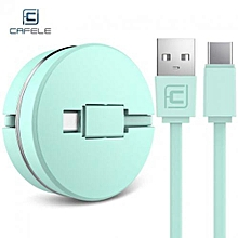 Circular Cover Stretchable Type-C Data Charging Cable 1M - Green
