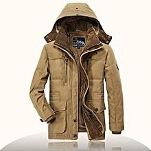 8edf3c5ef7f38 AFS JEEP Mens Thick Fleece Winter Coat Hooded Outdoor Solid Color Jacket  Khaki