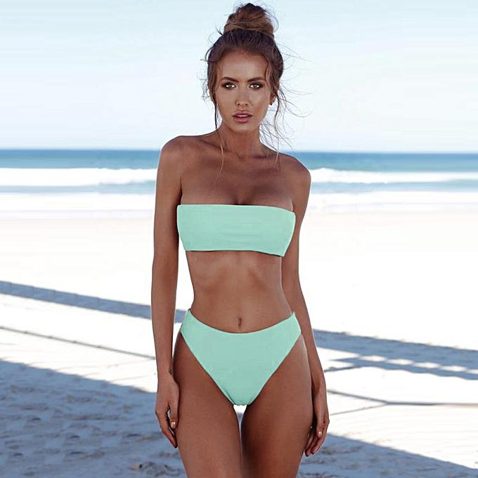 7b60cea2b3dcd Women High Waist Bikini Set Off Shoulder Push Up Padded Swimsuit Swimwear  Solid Bathing Suit