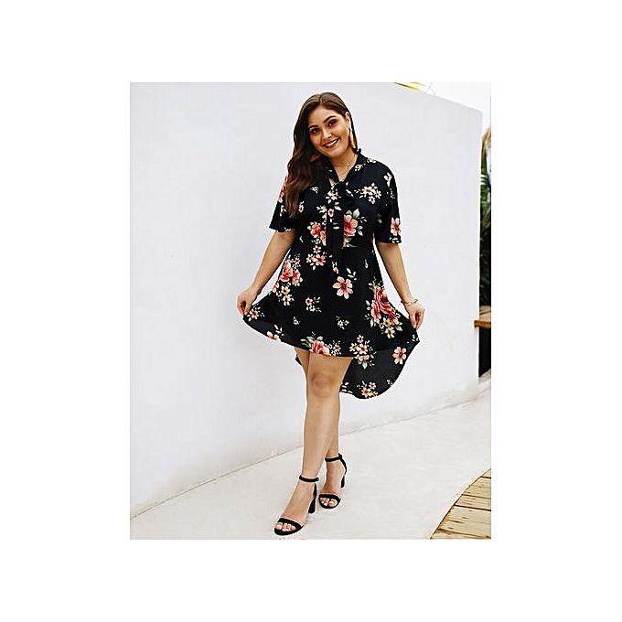 d9839a355d3 AFankara Plus Size High Low Dresses With Floral Print - Black @ Best ...