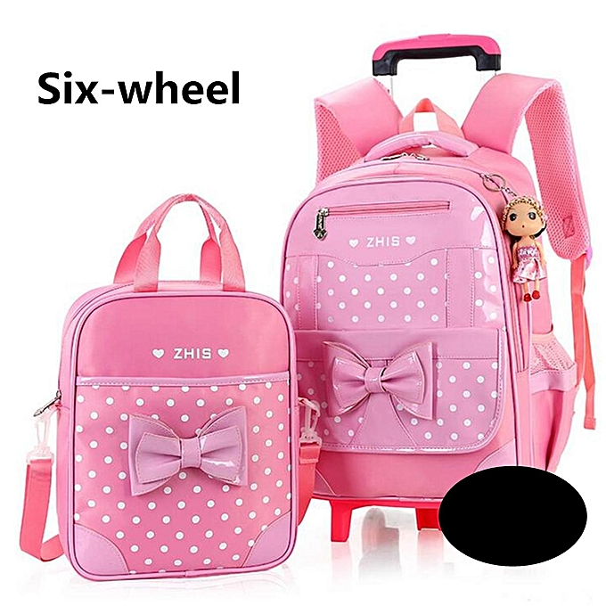 49f954169a8e 2Pcs Kids With 6 Wheels Trolley Backpack Girls Children School Bag  Removable 6 wheel Set of ...