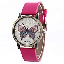 Women Creative Pattern Quartz Watch Leather Strap Belt Table Watch Hot-Hot Pink
