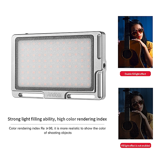 Andoer Portable LED Video Light Panel Camera Fill Light Built-in 2800mAh  Battery with OLED Screen 1/4 Inch Screw Hole 3500K-5700K Dimmable 96pcs  LEDs