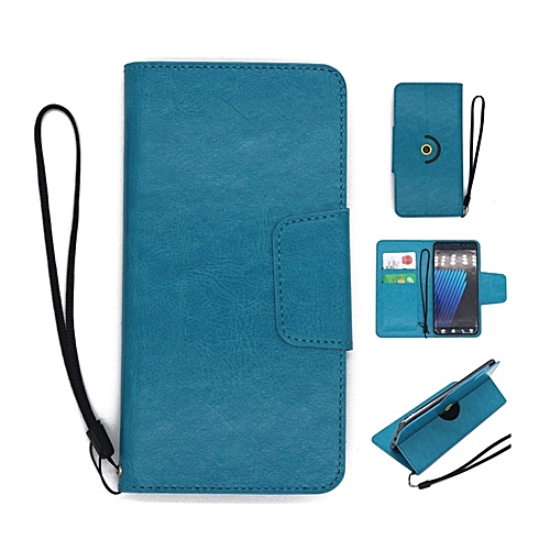 Fashion Case Universal Rotating Ultra Slim Durable PU Leather Wallet Case  Cover for Infinix HOT 5 Lite 5 5 inch (Blue)
