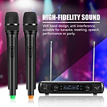 Wireless Microphone System Dual Handheld Wireless Dynamic Microphones + LCD Receiver System for Karaoke Singing US Plug