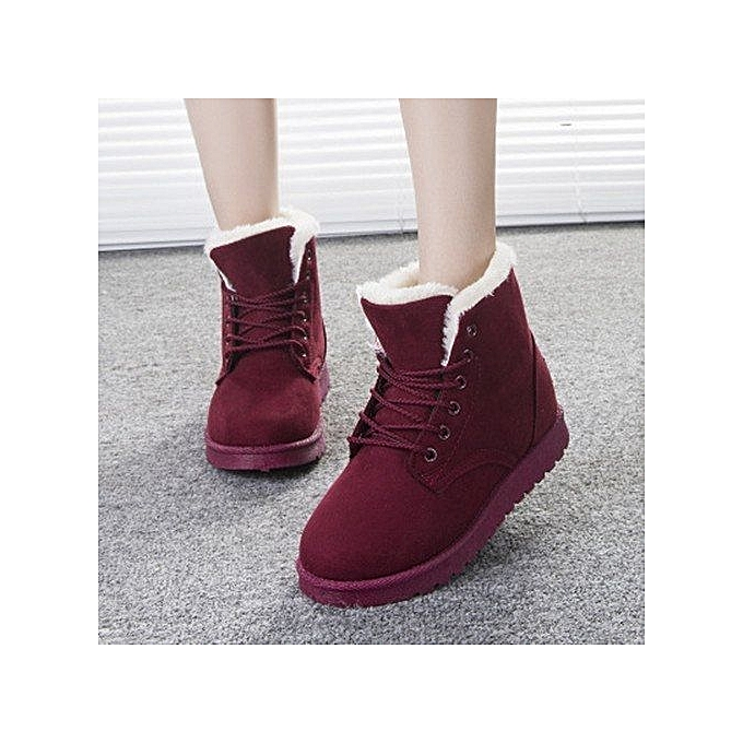 b489739059a5 New Women Faux Fur Lining Round Toe Winter Warm Flat Ankle Snow Boot Ski  Shoes Wine