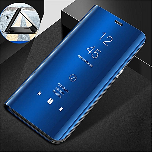 size 40 16970 98185 Clear View Mirror Case For Samsung Galaxy A6 Plus + / A6Plus 2018 Leather  Flip Stand Case Mobile Accessories Phone Cases Cover (Blue)