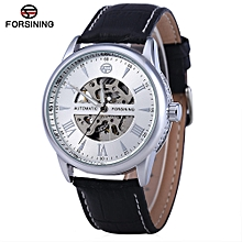 Hollow Automatic Mechanical Watch Leather Strap - Black