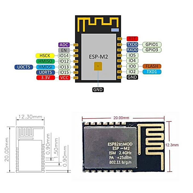 Mini Ultra Small ESP-M2 ESP8285 Serial Transmission Wireless WiFi Control  Module ESP8266