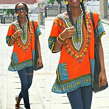 ORANGE AFRICAN UNISEX DASHIKI SHIRTS