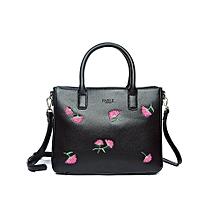 Black embroidered floral hand held/should bag