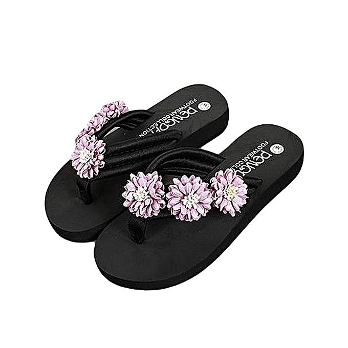 a43be3ab39fe5 Fashion Women Flower Anti-Skidding Flat Heel Sandals Slipper Beach Shoes  Purple