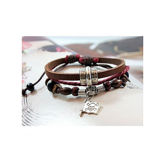 Pirates Of The Caribbean Skull Knit Jewelry Bracelet Makai Flags Women