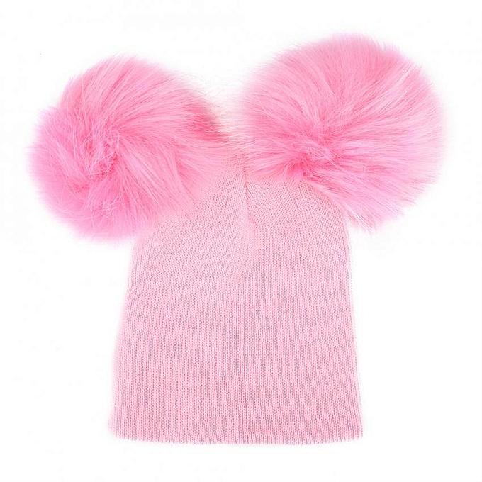 64895ab1377 Fashion Baby Girls Boys Faux Fur Pompom Knitted Cap Children Autumn Winter  Warm Hat