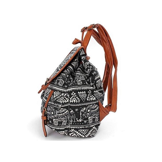 ... Intl Cute Fashion Women's Canvas Travel Satchel Shoulder Bag Backpack School Rucksack Elephant-Black ...