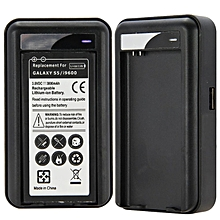 Wall Travel Spare Battery Charger with USB for Samsung Galaxy S5 i9600-Black