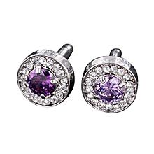 Olivaren Men's Sleeve Crystal Glass Jeweled Sleeve Button Shirt Sleeve Button-Purple