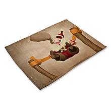 Table mat Santa print cotton western mat Placemat Table Decorative Pad colorful