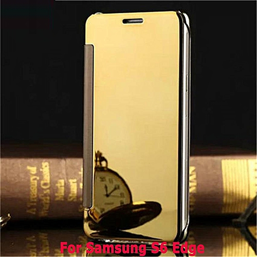 New Fashion 360 Degree Luxury Mirror Clamshell Hard Shell Flip Wallet Case  For Samsung Galaxy S6 Edge, Soft Leather Flip Wallet Smart View Mirror