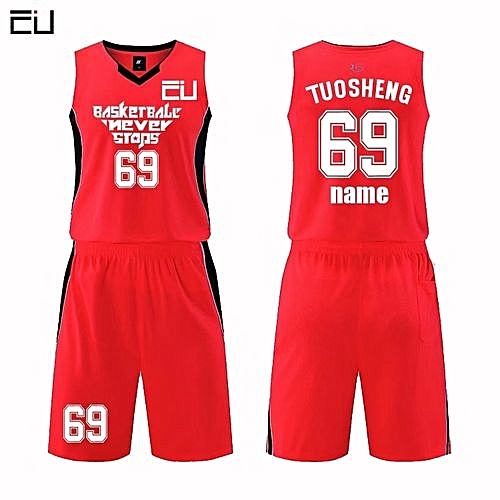 e0856286f33b Longo Customized Name Number Men s Basketball Team Sport Jersey Uniform -Red(MDS-1702)